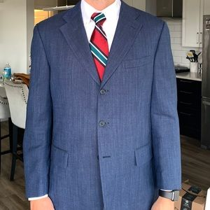 44L Faconnable Blue Linen and Wool 3-button Blazer
